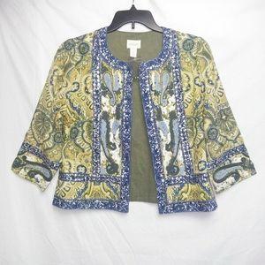 Nwot Chico's Embellished Open Front Jacket